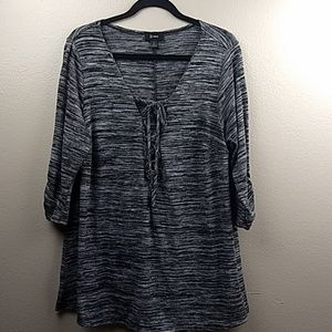 B Wear 3/4 Ruched Sleeve Blouse Size 1X